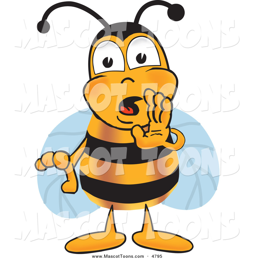 Cartoon Characters Yellow : Mascot vector cartoon of a yellow and black bee