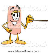 Cartoon of a Bandage Mascot Holding a Pointer Stick by Toons4Biz