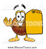 Cartoon of a Basketball Mascot Holding an Orange Sales Price Tag by Toons4Biz
