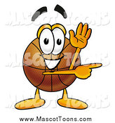 Cartoon of a Basketball Mascot Waving and Pointing by Toons4Biz