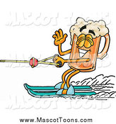 Cartoon of a Beer Mug Mascot Waving While Passing by on Water Skis by Toons4Biz