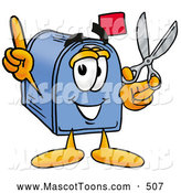 December 19th, 2013: Cartoon of a Blue Mailbox Mascot Holding a Pair of Scissors by Toons4Biz