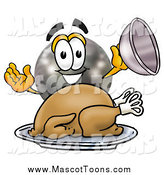 Cartoon of a Bowling Ball Mascot Serving a Thanksgiving Turkey on a Platter by Toons4Biz