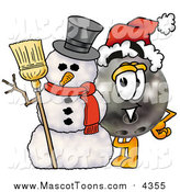 November 1st, 2015: Cartoon of a Bowling Ball Mascot with a Snowman by Toons4Biz
