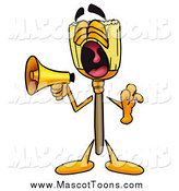 Cartoon of a Broom Mascot Screaming into a Megaphone by Toons4Biz