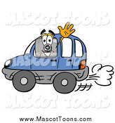 Cartoon of a Camera Mascot Driving a Blue Car and Waving by Toons4Biz