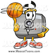 Cartoon of a Camera Mascot Spinning a Basketball by Toons4Biz