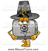 Cartoon of a Camera Mascot Wearing a Pilgrim Hat on Thanksgiving by Toons4Biz