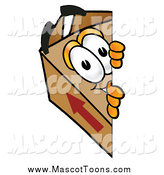 Cartoon of a Cardboard Box Mascot Looking Around a Corner by Toons4Biz