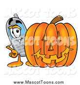 Cartoon of a Cell Phone Mascot Cartoon by a Halloween Pumpkin by Toons4Biz