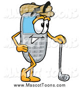 Cartoon of a Cell Phone Mascot Leaning on a Golf Club While Golfing by Toons4Biz