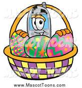 Cartoon of a Cellular Telephone Mascot with a Basket of Easter Eggs by Toons4Biz