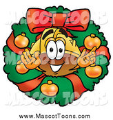 Cartoon of a Christmas Wreath and Hardhat Mascot by Toons4Biz
