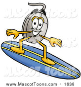 Cartoon of a Computer Mouse Mascot Character Surfing on a Blue and Yellow Surfboard by Toons4Biz