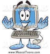 Cartoon of a Desktop Computer Mascot by Toons4Biz