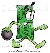 Cartoon of a Dollar Bill Mascot Bowling by Toons4Biz