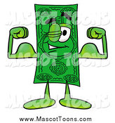 Cartoon of a Dollar Bill Mascot Flexing His Arm Muscles by Toons4Biz