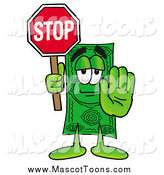 Cartoon of a Dollar Bill Mascot Holding a Stop Sign by Toons4Biz