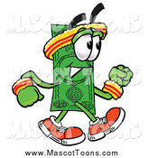 April 12nd, 2015: Cartoon of a Dollar Bill Mascot Speed Walking by Toons4Biz