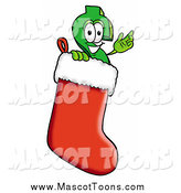 Cartoon of a Dollar Currency Symbol Mascot in a Christmas Stocking by Toons4Biz