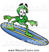 Cartoon of a Dollar Currency Symbol Mascot Surfing by Toons4Biz