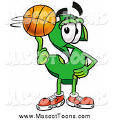 Cartoon of a Dollar Symbol Mascot Spinning a Basketball on His Finger by Toons4Biz