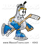 Cartoon of a Erlenmeyer Conical Laboratory Flask Beaker Mascot Playing Ice Hockey by Toons4Biz