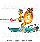 Cartoon of a Fire Mascot Waving While Water Skiing by Toons4Biz