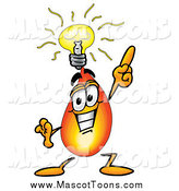 Cartoon of a Flame Mascot with a Bright Idea by Toons4Biz