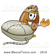 Cartoon of a Football Mascot Waving by a Computer Mouse by Toons4Biz