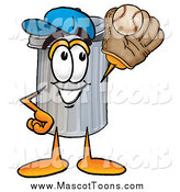 September 9th, 2014: Cartoon of a Garbage Can Mascot Catching a Baseball by Toons4Biz