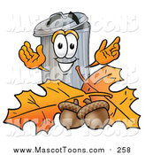 August 30th, 2015: Cartoon of a Garbage Can Mascot with Autumn Leaves and Acorns by Toons4Biz
