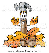 Cartoon of a Hammer Mascot with Acorns and Autumn Leaves by Toons4Biz