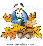 January 7th, 2015: Cartoon of a Happy Earth Globe Mascot Cartoon Character with Autumn Leaves and Acorns in the Fall by Toons4Biz