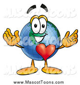 Cartoon of a Happy Earth Globe Mascot Cartoon Character with His Heart Beating out of His Chest by Toons4Biz