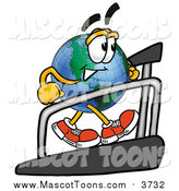 December 1st, 2015: Cartoon of a Happy Earth Globe Mascot Walking on a Treadmill by Toons4Biz