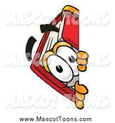 Cartoon of a Happy Red Book Mascot Peeking Around a Corner by Toons4Biz