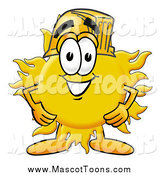 Cartoon of a Happy Sun Mascot Wearing a Helmet by Toons4Biz