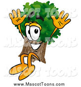 Cartoon of a Happy Tree Mascot Cartoon Character Jumping by Toons4Biz