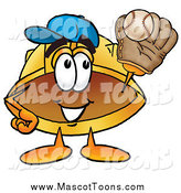 Cartoon of a Hard Hat Mascot Catching a Baseball by Toons4Biz