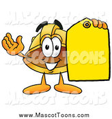 Cartoon of a Hard Hat Mascot Holding a Sales Tag by Toons4Biz