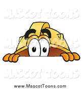Cartoon of a Hard Hat Mascot Peeking over a Surface by Toons4Biz