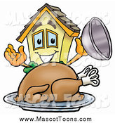 Cartoon of a House Mascot over a Roasted Thanksgiving Turkey by Toons4Biz