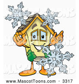 Cartoon of a House Mascot with Winter Snowflakes by Toons4Biz