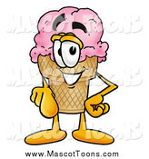 Cartoon of a Ice Cream Cone Pointing at the Viewer by Toons4Biz