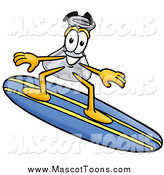Cartoon of a Laboratory Flask Beaker Mascot Cartoon Character Surfing on a Blue and Yellow Surfboard by Toons4Biz