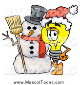 Cartoon of a Light Bulb Mascot Character with a Christmas Snowman by Toons4Biz