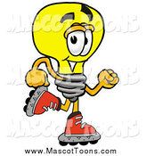 Cartoon of a Light Bulb Mascot Roller Blading on Inline Skates by Toons4Biz