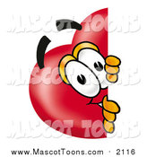 Cartoon of a Love Heart Mascot Peeking Around a Corner by Toons4Biz