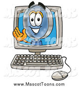 Cartoon of a Magnifying Glass Mascot Waving from Inside a Computer Screen by Toons4Biz